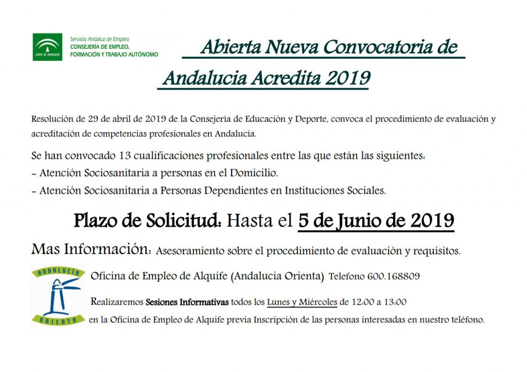 CONVOCATORIA ANDALUCIA ACREDITA